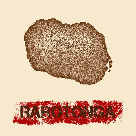 Rarotonga distressed map. Grunge patriotic poster with textured island ink stamp and roller paint mark, vector illustration. Illustration
