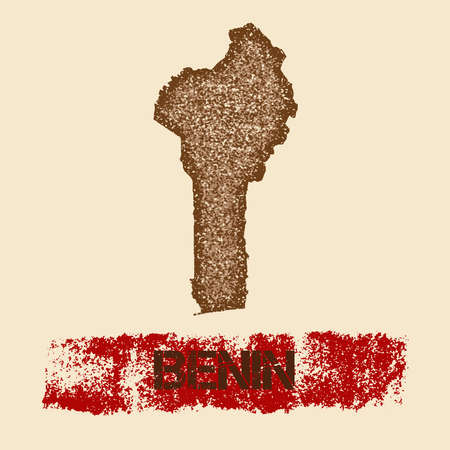 Benin distressed map. Grunge patriotic poster with textured country ink stamp and roller paint mark, vector illustration. Illustration
