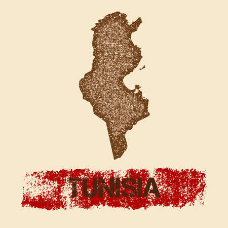Tunisia distressed map. Grunge patriotic poster with textured country ink stamp and roller paint mark, vector illustration. Illustration