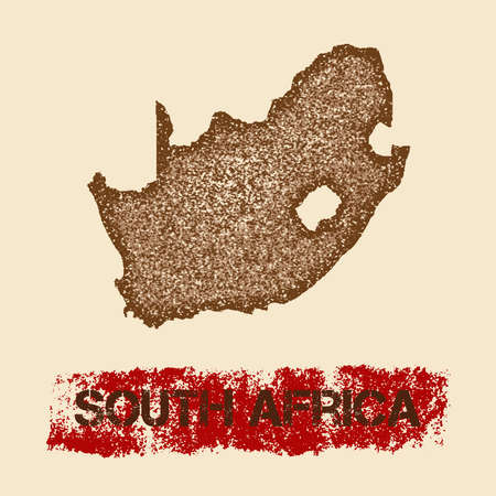 South Africa distressed map. Grunge patriotic poster with textured country ink stamp and roller paint mark, vector illustration.