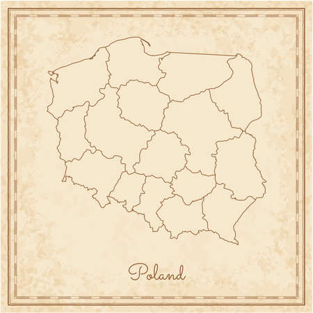 Poland region map stylized old pirate parchment imitation. Detailed map of Poland regions. Vector illustration.