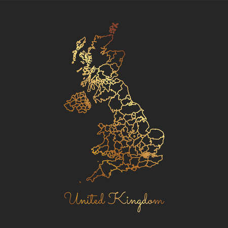 Detailed map of United Kingdom regions. Illustration