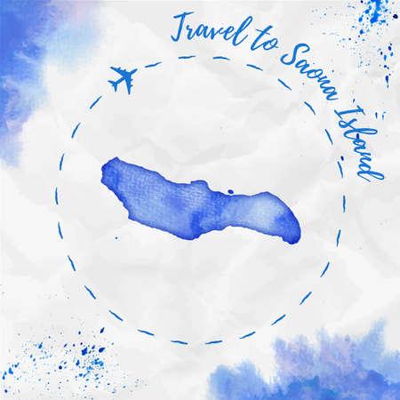 Saona Island watercolor illustration island map in blue colors. Illustration