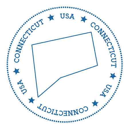 Connecticut vector map sticker. Hipster and retro style badge with Connecticut map. Minimalistic insignia with round dots border. USA state map vector illustration.