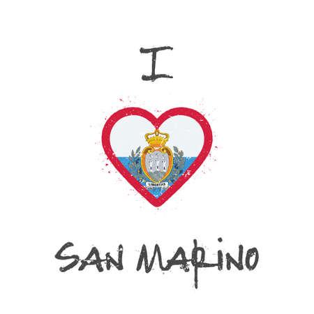 I love San Marino t-shirt design. San Marino flag in the shape of heart on white background. Grunge vector illustration.