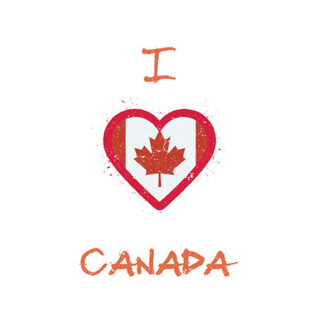 I love Canada t-shirt design. Canadian flag in the shape of heart on white background. Grunge vector illustration.