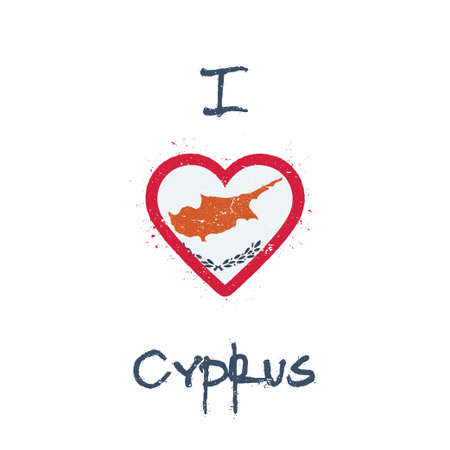I love Cyprus t-shirt design. Cypriot flag in the shape of heart on white background. Grunge vector illustration. Çizim