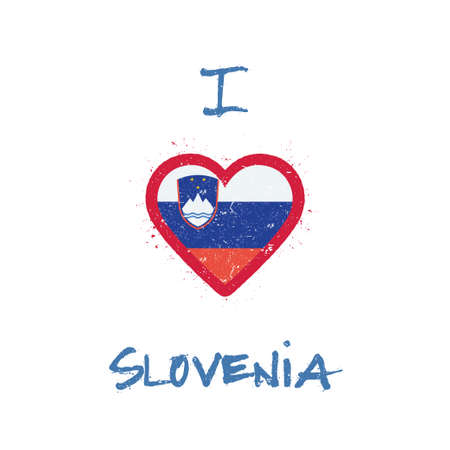 I love Slovenia t-shirt design. Slovene flag in the shape of heart on white background. Grunge vector illustration.