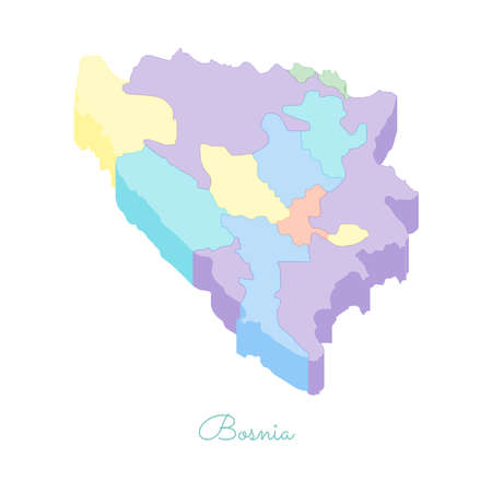 Bosnia region map: colorful isometric top view. Detailed map of Bosnia regions. Vector illustration. Illustration
