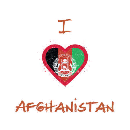 I love Afghanistan t-shirt design. Afghan flag in the shape of heart on white background. Grunge vector illustration.