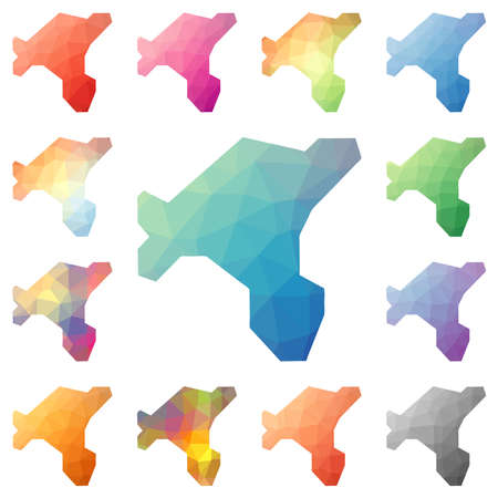 Salt Island geometric polygonal, mosaic style island maps collection. Bright abstract tessellation, low poly style, modern design. Salt Island polygonal maps for your infographics or presentation.