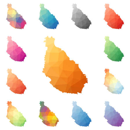 Santiago Island geometric polygonal, mosaic style island maps collection. Bright abstract tessellation, low poly style, modern design.