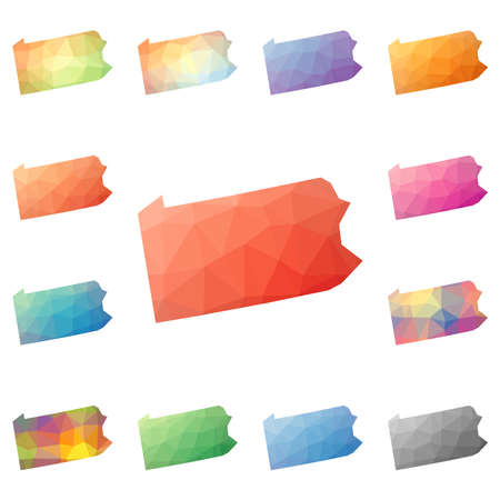Pennsylvania geometric polygonal, mosaic style us state maps collection. Bright abstract tessellation, low poly style, modern design. Pennsylvania polygonal maps for your infographics or presentation.