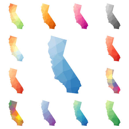 California geometric polygonal, mosaic style us state maps collection. Bright abstract tessellation, low poly style, modern design. California polygonal maps for your infographics or presentation.