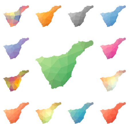Tenerife geometric polygonal, mosaic style island maps collection. Bright abstract tessellation, low poly style, modern design. Tenerife polygonal maps for your infographics or presentation. 矢量图像
