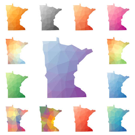 Minnesota geometric polygonal, mosaic style us state maps collection. Bright abstract tessellation, low poly style, modern design. Minnesota polygonal maps for your infographics or presentation.