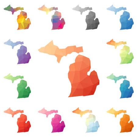 Michigan geometric polygonal, mosaic style us state maps collection. Bright abstract tessellation, low poly style, modern design. Michigan polygonal maps for your infographics or presentation.