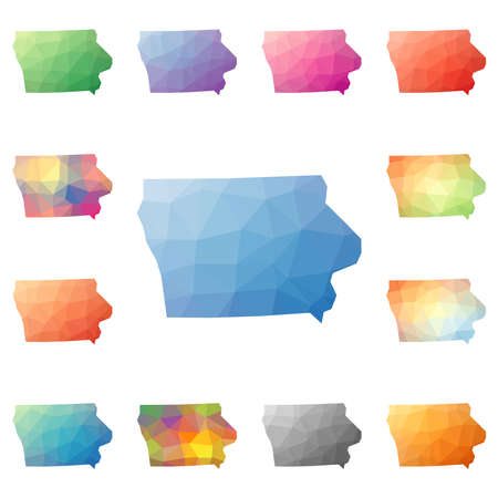 Iowa geometric polygonal, mosaic style us state maps collection. Bright abstract tessellation, low poly style, modern design. Iowa polygonal maps for your infographics or presentation.
