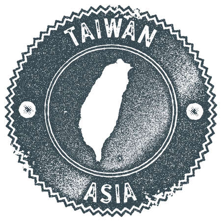 Taiwan map vintage stamp. Retro style handmade label, badge or element for travel souvenirs. Dark blue rubber stamp with country map silhouette. Vector illustration.