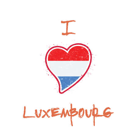 Luxembourger flag patriotic t-shirt design. Heart shaped national flag Luxembourg on white background. Vector illustration.
