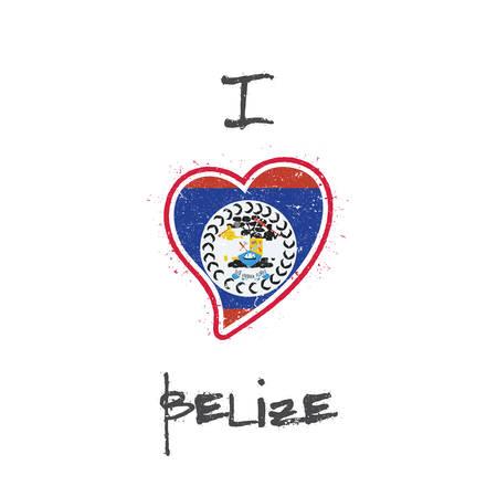 Design t-shirt patriottico bandiera del Belize. Bandiera nazionale a forma di cuore Belize su fondo bianco. Illustrazione vettoriale Archivio Fotografico - 94032981