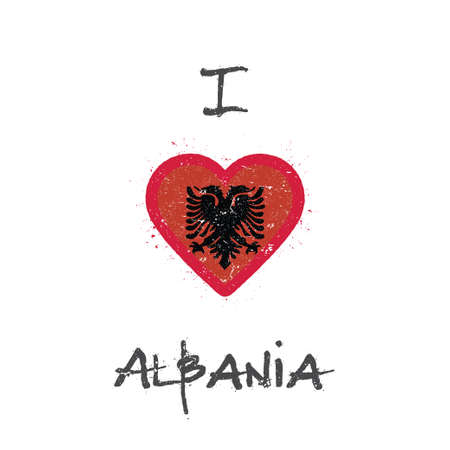 I love Albania t-shirt design. Albanian flag in the shape of heart on white background. Grunge vector illustration.