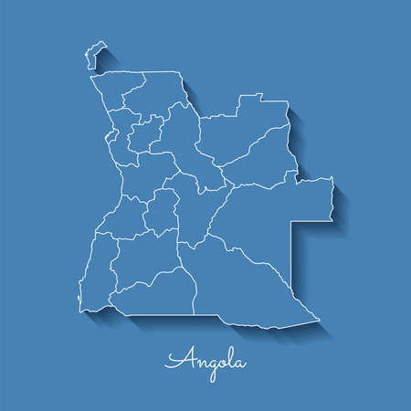 Angola region map: blue with white outline and shadow on blue background. Detailed map of Angola regions. Vector illustration.