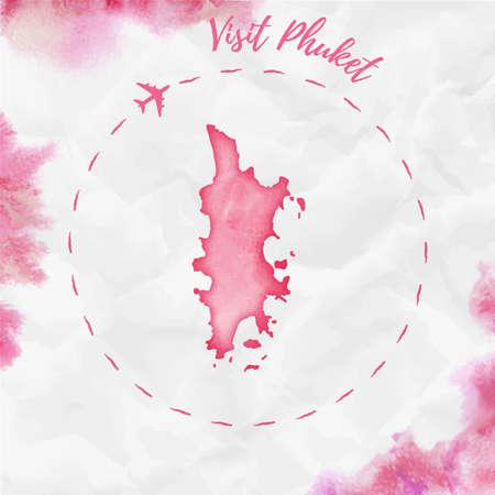 赤い色でプーケット水彩島の地図。飛行機の痕跡と手描きの水彩プーケットマップがくしゃくしゃになった紙に描かれたプーケットのポスターをご
