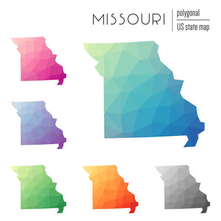Set of vector polygonal Missouri maps. Bright gradient map of the US state in low poly style. Multicolored Missouri map in geometric style for your infographics.
