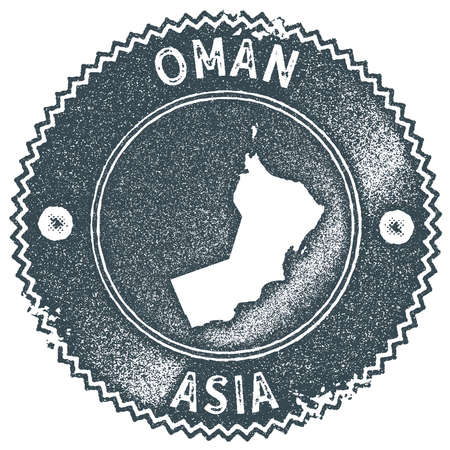 Oman map vintage stamp. Retro style handmade label, badge or element for travel souvenirs. Dark blue rubber stamp with country map silhouette. Vector illustration.