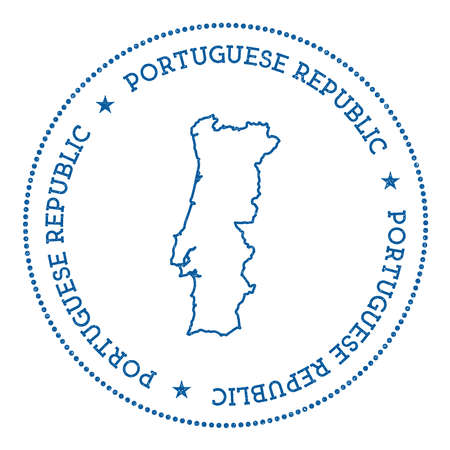 Portugal vector map sticker. Hipster and retro style badge with Portugal map. Minimalistic insignia with round dots border. Country map vector illustration.