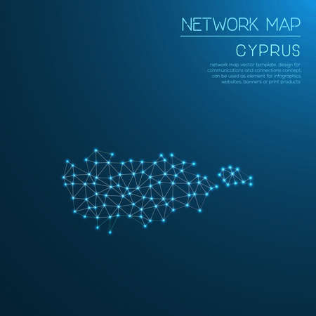 Cyprus network map. Abstract polygonal map design. Internet connections vector illustration. Illustration