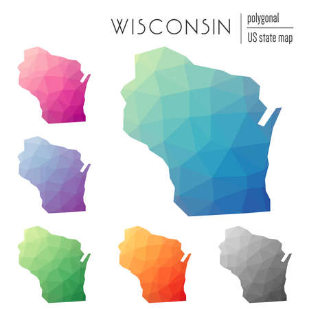 Set of vector polygonal Wisconsin maps. Bright gradient map of the US state in low poly style. Multicolored Wisconsin map in geometric style for your infographics. Иллюстрация