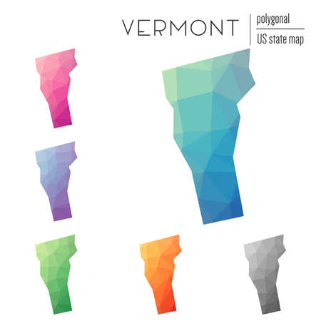 Set of vector polygonal Vermont maps. Bright gradient map of the US state in low poly style. Multicolored Vermont map in geometric style for your infographics. Illustration