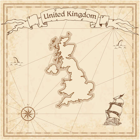 United Kingdom old treasure map. Sepia engraved template of pirate map. Stylized pirate map on vintage paper.