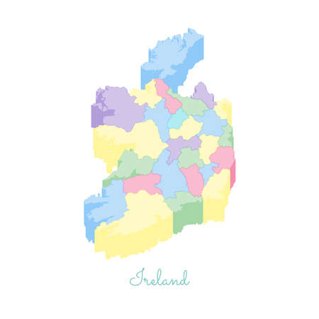 Ireland region map: colorful isometric top view. Detailed map of Ireland regions. Vector illustration. Illustration