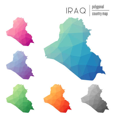 Set of vector polygonal Iraq maps. Bright gradient map of country in low poly style. Multicolored Iraq map in geometric style for your infographics.