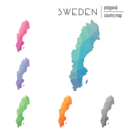 Set of vector polygonal Sweden maps. Bright gradient map of country in low poly style. Multicolored Sweden map in geometric style for your infographics.
