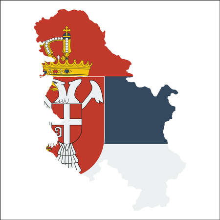 Serbia high resolution map with national flag. Flag of the country overlaid on detailed outline map isolated on white background. Illustration