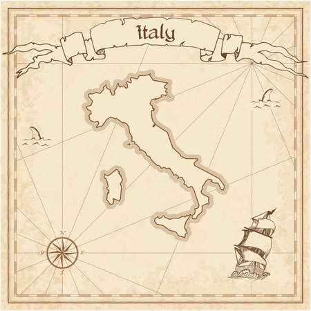 Italy old treasure map. Sepia engraved template of pirate map. Stylized pirate map on vintage paper.