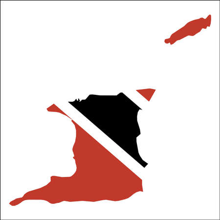 Trinidad and Tobago high resolution map with national flag. Flag of the country overlaid on detailed outline map isolated on white background.