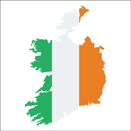 Ireland high resolution map with national flag. Flag of the country overlaid on detailed outline map. Isolated on white background. Illustration