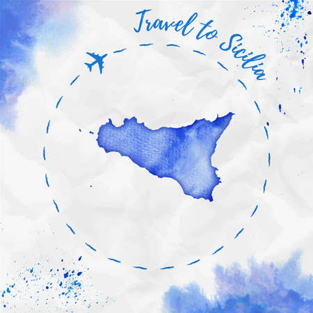 Sicilia watercolor island map in blue colors. Travel to Sicilia poster with airplane trace and handpainted watercolor Sicilia map on crumpled paper. Vector illustration. Illustration