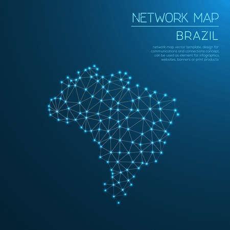 Brazil network map Stock Vector - 94021113