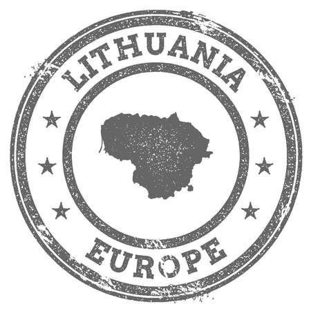 Lithuania grunge rubber stamp map and text. Round textured country stamp with map outline. Vector illustration. Stock Illustratie
