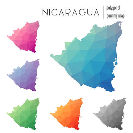 Set of vector polygonal Nicaragua maps. Bright gradient map of country in low poly style. Multicolored Nicaragua map in geometric style for your infographics. Illustration