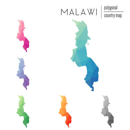 Set of vector polygonal Malawi maps. Bright gradient map of country in low poly style. Multicolored Malawi map in geometric style for your infographics. Illustration