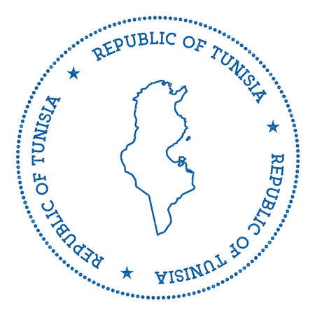 Tunisia vector map sticker. Hipster and retro style badge with Tunisia map. Minimalistic insignia with round dots border. Country map vector illustration.