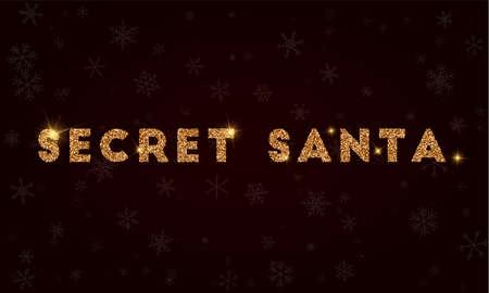 Secret santa on Golden glitter greeting card. Luxurious design element, vector illustration. Stock Illustratie