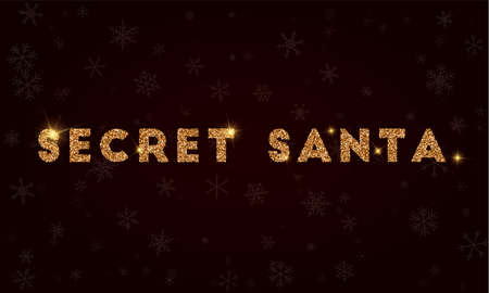 Secret santa on Golden glitter greeting card. Luxurious design element, vector illustration. 矢量图像